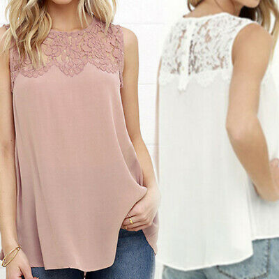 Sexy Openwork Lace Womens Sleeveless Floral Vest Tops Summer Casual Blouse TP