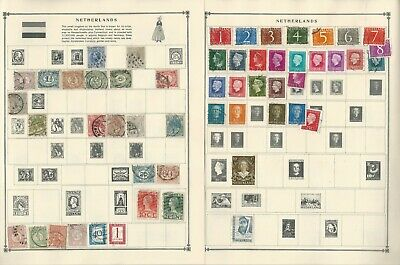 Netherlands & Colonies Stamp Collection on 16 Scott Album Pages To 1981