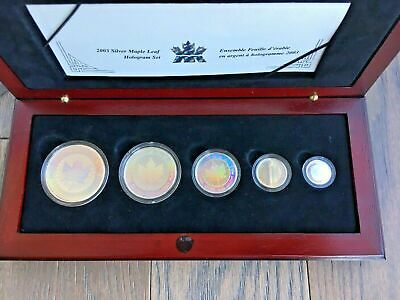 2003 Canada Fractional Holographic .999 Fine Silver Maple Leaf Set in Case & COA