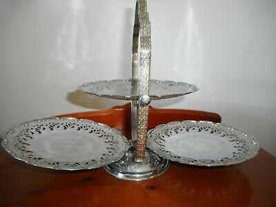 Vintage Queen Anne Silver Plated 3 Tier Fold Out Cake Stand