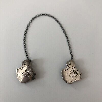 Antique Vintage Wallace Sterling Silver Ducks Chicks Bib Clips on Chain 919