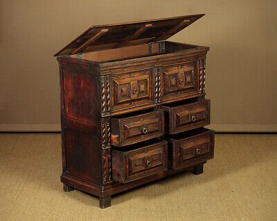 Antique 17th.c. Style Oak Chest Of Drawers c.1800.