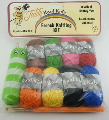French Knitting Kit Complete Set for Children with Knitting Dolly wool and Tool