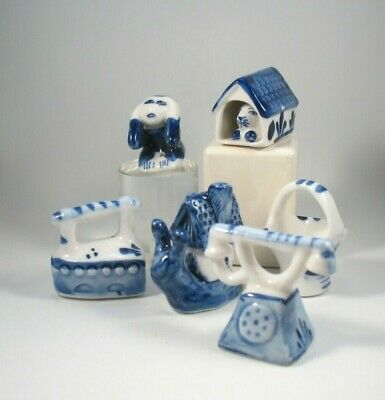 Collection of 6 Ceramic Delft Like Figures Miniature Blue and White Lot Delft 2