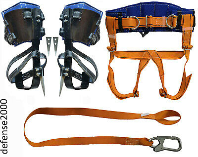 Tree Climbing Spike Set with Adjustable Pads, Safety Belt with Straps,  Lanyard