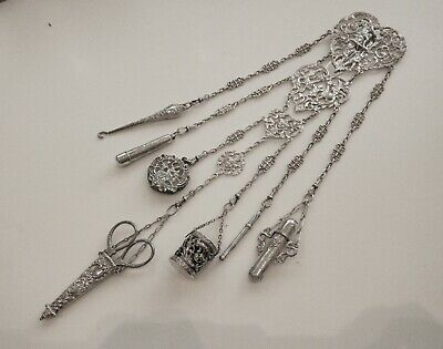 Antique Victorian Solid Silver Chatelaine With Attachments