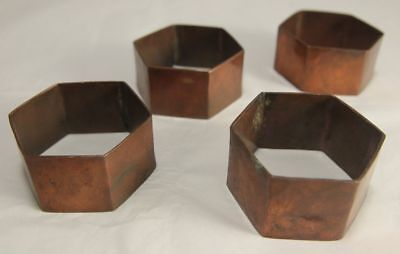 Set of 4 Hexagonal Hammered Copper Napkin RIngs