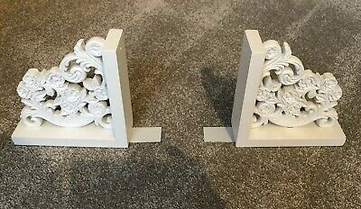 Laura Ashley White Ornate Book Ends Wooden