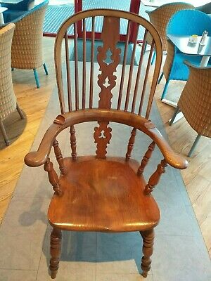 ENGLISH Elm Seat Windsor Chair ARMCHAIR Dining carver Beech stick back ANTIQUE