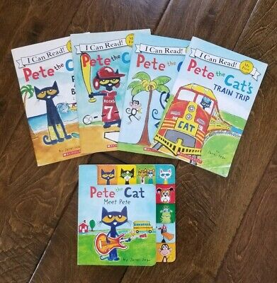 Lot Of 5 Pete The Cat Children's Picture Book 1Hardcover 4 Paper Books *Great!