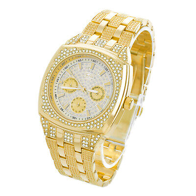 Techno Pave Men's Silver Plated Metal Band Bling Iced Hip Hop Watches WM 9029 G