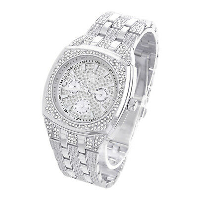 Techno Pave Men's Silver Plated Metal Band Bling Iced Hip Hop Watches WM 9029 S