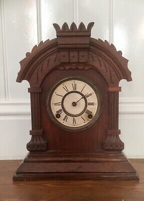 Antique Victorian 1882 ANSONIA NEW YORK Mantel Clock,Brass Movement,Pendulum