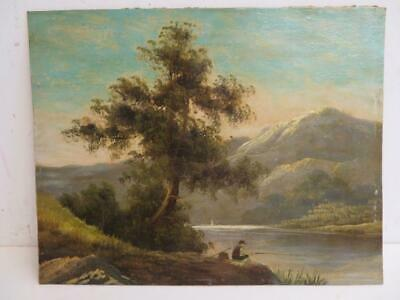 antique old PAINTING oil LANDSCAPE MAN FISHING signed