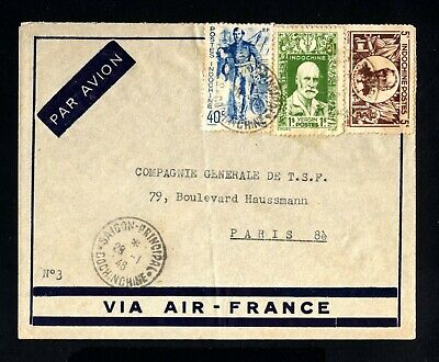 S346-INDOCHINA-AIRMAIL COVER SAIGON to PARIS (france) 1946.WWII.Indochine AERIEN