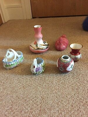 Antique Small Porcelain Vases Decoration X6 Hand Made & Painted
