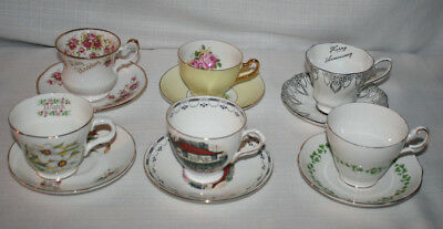 Lot Of 6 Collectors Mix Bone China Cups & Saucer Made In England
