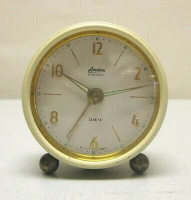 Vintage Linden West German Alarm Clock Art Deco runs well good time and alarm
