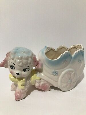 Vintage Ceramic Lamb And Baby Carriage Nursery Planter A