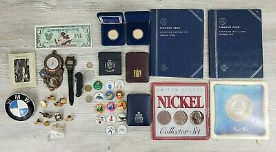 Vintage Junk Drawer Lot Coins Tokens Pins Buttons Knife Photos Proof Sets