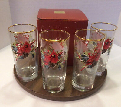 """Lenox """" For The Holidays"""" Set Of 4 Hghiball  Glasses With Box"""