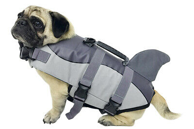 Pet Dog Life Preserver Jacket Swim Vest Safety Size M Saver Shark USA Gray NEW
