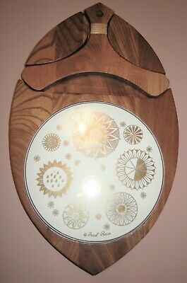 Fred Press Sere Vintage Mid-century Modern Atomic Decor Wood Teak Chse Tray asis