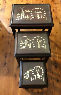 Vintage Nest Of 3 Tables Chinese Inlay Mother of Pearl