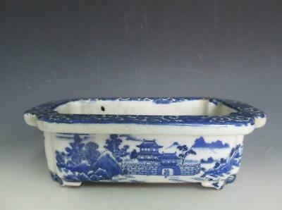 Japanese old Imari flower pot, bowl/ Blue & White Porcelain/ Bonsai/ 9336