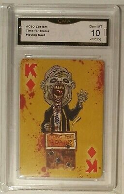 Rare Donald Trump Zombie Playing Card ACEO graded Gem MT 10 GMA
