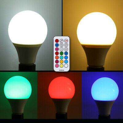 E27 10W Regulable RGB LED Luz Cambia de Color Bombilla W/ Control Remoto 85-265V