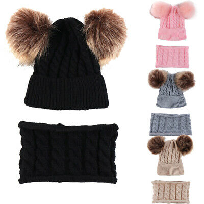 UK Winter Warm Kids Baby Boys Girls Hat+Scarf 2Pcs Sets Knitting Hat with Scarf