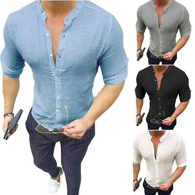Mens Long Sleeve Shirt Tops Stand Collar Button Party Casual Formal Solid Beach