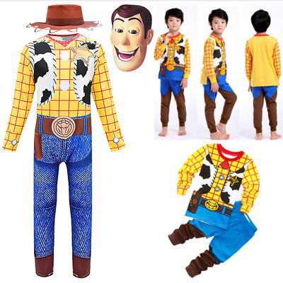 Kids Boys Toy Story Woody Jumpsuit Hat Mask Cosplay Party Costume Fancy Dress