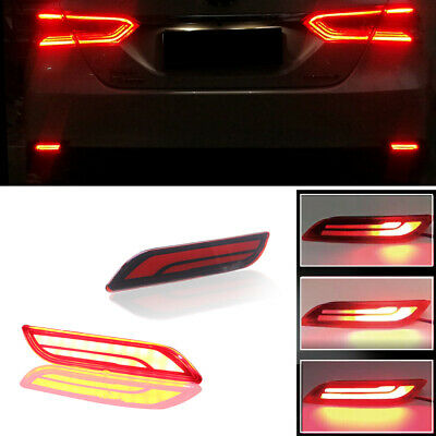 For 2018-2019 Toyota Camry Red Lens Rear Bumper Tail Brake LED Lamps Foglights
