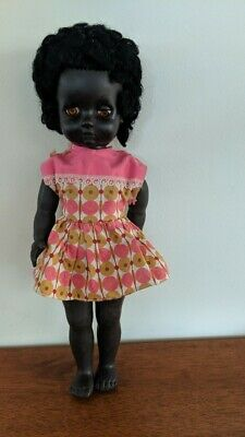Vintage Black Doll, 1960s, hard plastic, made in England.