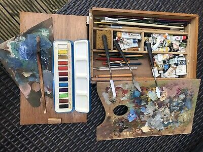Vintage artists Wood box With paints/brushes/pallets, Rowney etc
