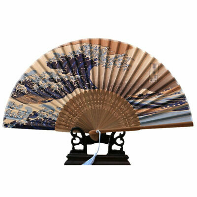1X Japanese Silk Bamboo Waves Folding Hand Held Fan For Wedding Dancing Party AU