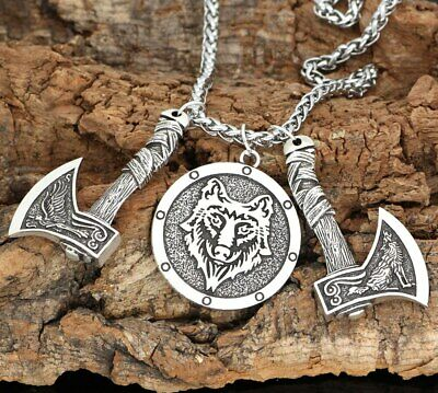 nordic viking odin's wolf and raven rune pendant necklace for men