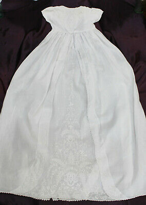 An Exquisite Vintage Embroidered Cotton Christening Gown