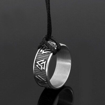 Men stainless steel Norse viking odin symbol pagan compass amulet ring
