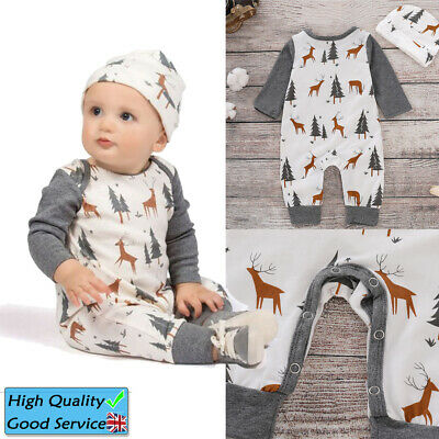Baby Girl Boys Long Sleeve Romper Hat Set Toddler Christmas Tree Printed Outfits