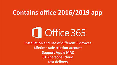 MS Office 365 Pro 5 PC 5 MAC Lifetime - New Account -Complete office2019/2016