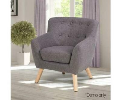 Kids Children Padded Cushion Fabric Chair Seat Sofa Armchair Lounge Couch Grey