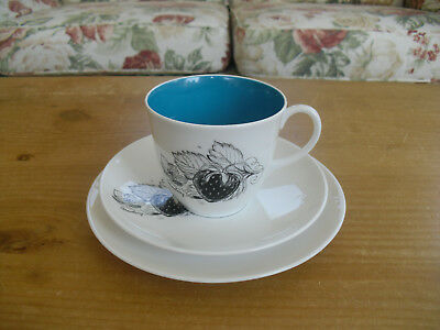 Susie Cooper Black Fruit - Strawberry Trio - Tea Cup, Saucer & Side Plate