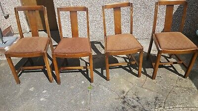 4 Vintage Solid Wood Dining Room Chairs, Original Condition