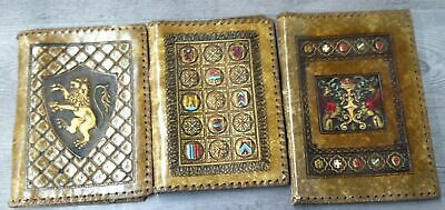 Lot Of Three Hand Tooled Leather Book Covers Fabric Inside Lining