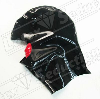 GAG ATTACHED MUTE LATEX HOOD - Rubber Gummi Kapuzen Sissy Masken Mask Haube
