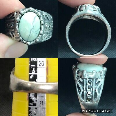 wonderful unique post medieval old white howlight  stone ring