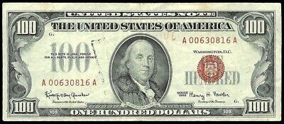 1966 $100 Red Seal Us Bank Red Seal Note Fr 1550 Extremely Fine *Ink